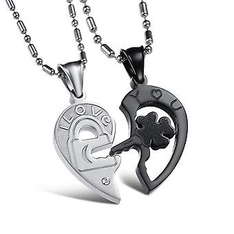 18k white-gold plated lock necklace