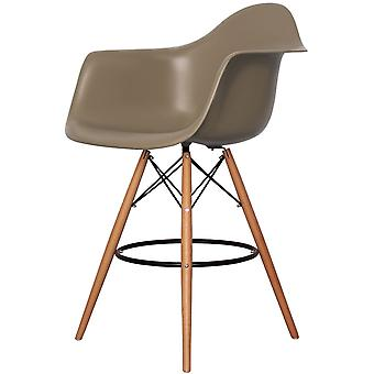 Charles Eames Style Slate Brown Plastic Bar Stool With Arms