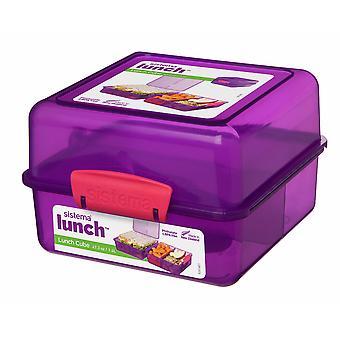 Sistema 3 Compartment 1.4L Lunch Cube Box, Purple