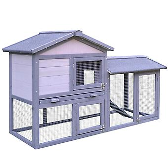 PawHut Rabbit Hutch Small Pet House Two-Level w/ Outdoor Run Water & UV Resistant Roof Access Ramp Grey White