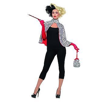 Deluxe Evil Madame Cruella Deville Kit, Cape, käsineet, laukku, CIG, Fancy Dress