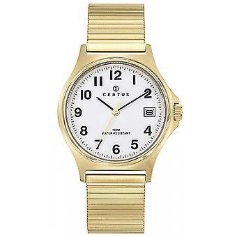 Horloge Certus 617008-Dateur Steel dor Cadran blanke mannen