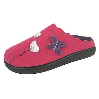 Coolers Womens Premier Scalloped Felt Design Mule Slippers