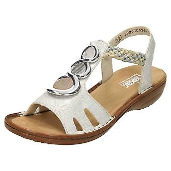 Rieker Wedge Heeled Platform Open Toe Sandals 62470-31 Metallic Pink Casual Shoe