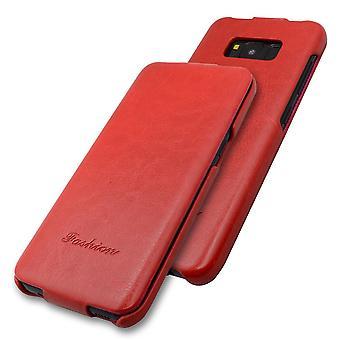 For Samsung Galaxy S8 PLUS tilfelle, mote stilig vertikal flip skinn deksel, rød