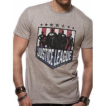Justice League Unisex Adults Silhouette Shield Design T-shirt