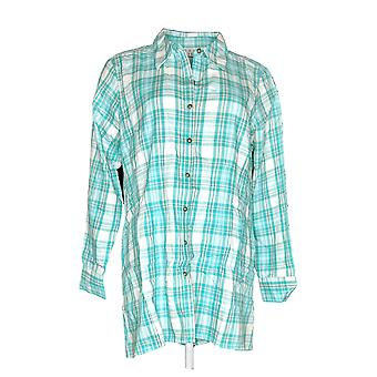 Joan Rivers Classics Collectie Dames's Top Plaid Green A287180
