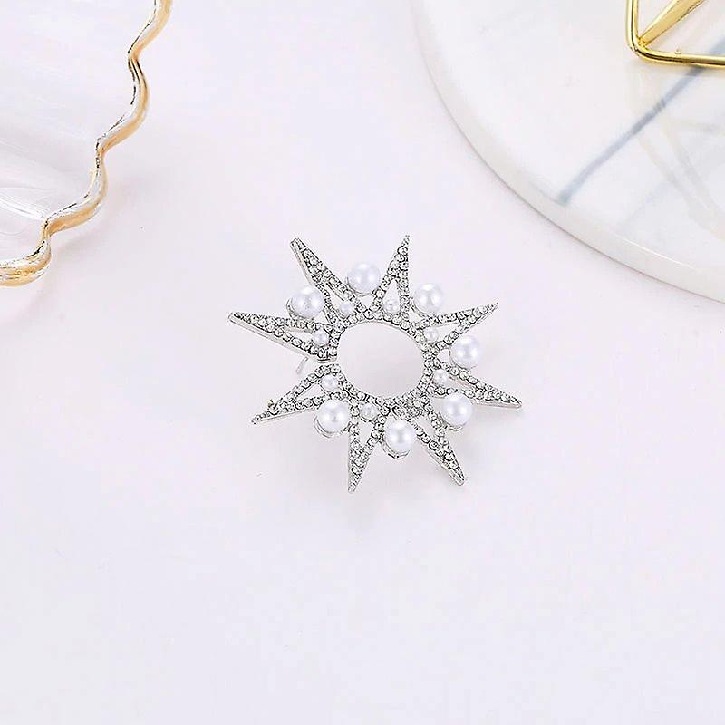 Silver Sterling Star with Pearl Earrings