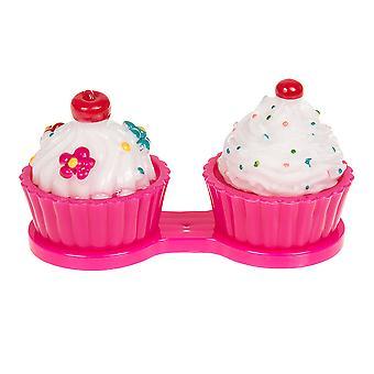 Estojo de lente de contato do cupcake rosa escuro
