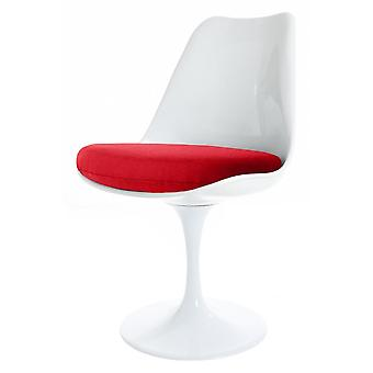 Eero Saarinen White And Red Tulip Style Side Chair