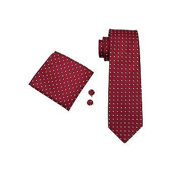 JSS Red & White Polka Silk Neck Tie, Pocket Square & Cufflink Set