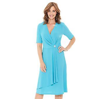 Ladies Womens Jersey Dress Mock Wrap Diamante Trim