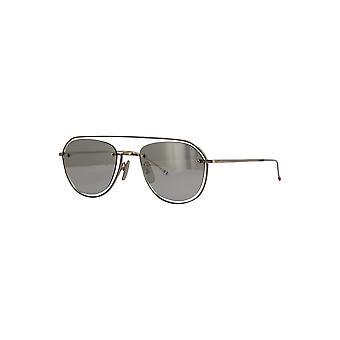 Thom Browne TBS112 01 Silver-Grey Enamel/Medium Grey-Silver Mirror Sunglasses