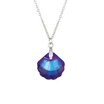 Eternal Collection Seashell Bermuda Blue Crystal Silver Tone Pendant