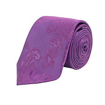 Dobell gutter lilla Paisley uavgjort Satin føle stoff bryllup slips