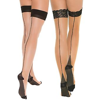 Womens Cuban Heel Stockings Lace Top Thigh Highs Hosiery For Garter Belts- 2 Pack