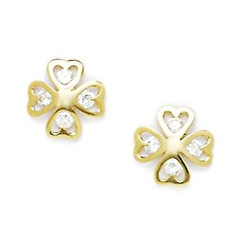 14k Yellow Gold CZ Cubic Zirconia Simulated Diamond Flower Screw back Earrings Measures 9x9mm Jewelry Gifts for Women