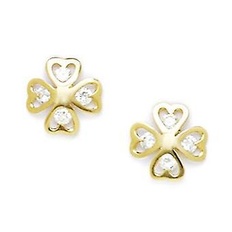 14k Yellow Gold CZ Cubic Zirconia Gesimuleerde Diamond Flower Screw terug Oorbellen maatregelen 9x9mm sieraden geschenken voor vrouwen