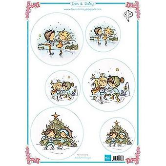 Marianne Design 3D Decoupage sheets Don & Daisy Dancing on ice DDK3221