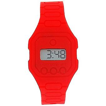 Pixelmoda Unisex Digital With Backlight Red Trendy Flat Silicone Strap Watch