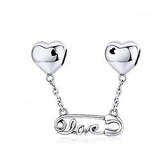 Sterling Sølv Vedhæng Charm Sikkerhed Pin Med Kærlighed - 6138