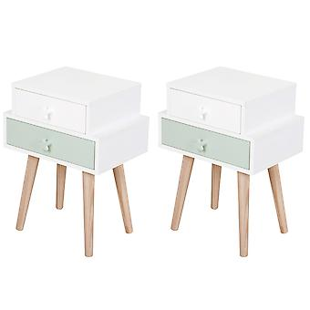 Set Of 2 Kids Bedside Table Bedroom Storage Cabinet w/ Wood Legs 2 Drawers Star Handles Storage Side Table Toys Books Pyjamas Blue White