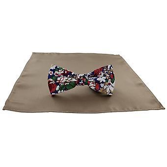 Michelsons Londyn Contast kwiatowy muszkę i zwykły Pocket kwadratowych zestaw - Taupe