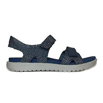 Ecco Flora 700122 55335 Retro blau strukturierte Leder Mädchen verstellbar offene Zehen Sandalen
