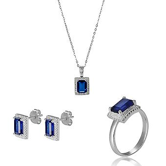 Orphelia 925 Silver Set Necklace + Earrings + Ring with Sapphire and Zirconium