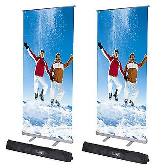 """2pc 32x79""""  Adjustable Height Retractable Roll Up Banner Stand Telescopic Display"""