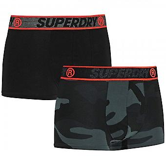 Superdry Two 2 Pack Boxer Shorts Black & Grey Camo Print T8T