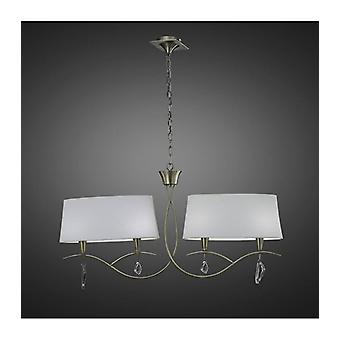 Hanging Lamp Mara 2 Arm 4 Bulbs E14, Antique Brass With Ivory White Lampshades