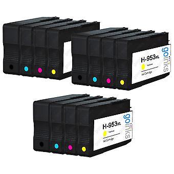 3 Go Inks Kompatybilny zestaw 4 zastąpić HP 953 Wkład atramentowy do drukarek (12 atramentów) - czarny, cyjan, purpurowy, żółty kompatybilny / non-OEM dla drukarek HP Officejet
