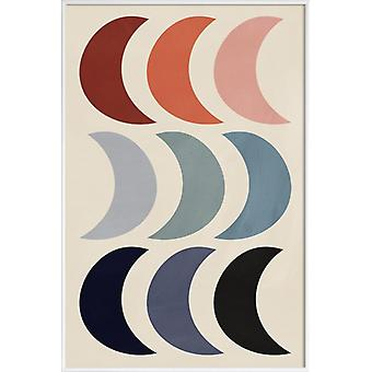 JUNIQE Print -  Crescents - Mond Poster in Bunt & Grau