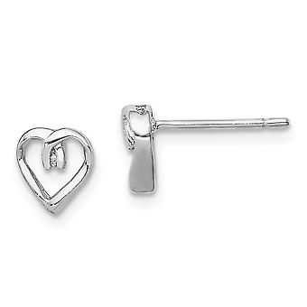 925 Sterling Silver Polished Rhodium plated Rhodium Diamond Love Heart Post Earrings Jewelry Gifts for Women