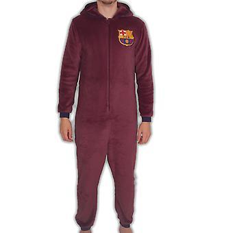 FC Barcelona Official Football Gift Mens Pyjama Sleepwear Hooded All-In-One