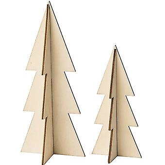 2 Two-Part Natural Wooden Hanging Christmas Trees with Cord for Decorating