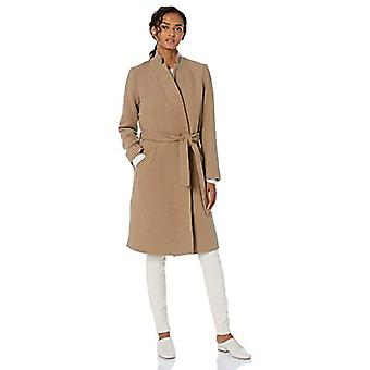 Brand - Daily Ritual Women's Wool Blend Belted Coat, Camel Herringbone 8