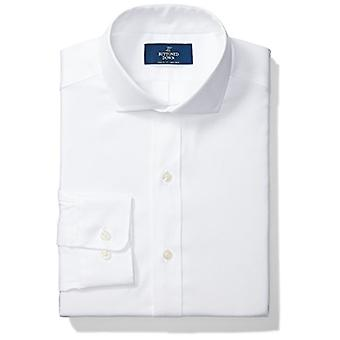 "BUTTONED DOWN Men's Classic Fit Cutaway Collar Solid Non-Iron Dress Shirt (No Pocket), White, 15"" Neck 33"" Sleeve"