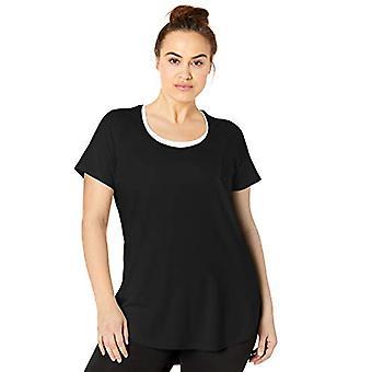 الأساسية 10 Women's Pima Cotton-Blend قصير الأكمام Yoga Tunic, أسود, كبير