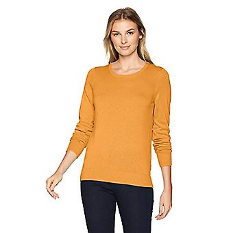 Essentials Women's Lightweight Crewneck Sweater, -mustard heather, X-S...