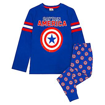 Marvel Captain America Avengers Shield Logo Boy's Long Pyjamas