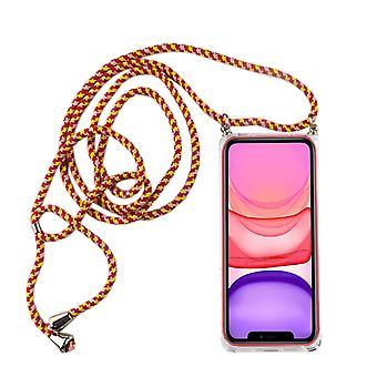 Telefon kjede for Apple iPhone 11-Smartphone kjede veske med band-Cord med sak å henge i rødt