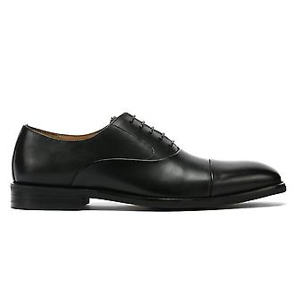 TOWER London Oxford Mens Black Leather Shoes