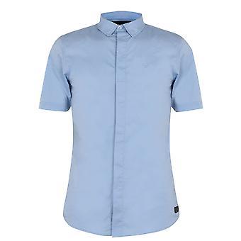 Firetrap Mens kort ärm muskel skjorta rak punkt krage knappen stängning