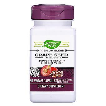 Nature's Way, Semilla de uva con vitamina C, 100 mg, 30 cápsulas veganas