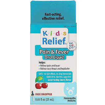 Homeolab USA, Kids Relief, Pain & Fever Oral Liquid, For Kids 0-12 Yrs, Cherry F