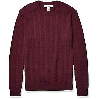 Essentials Men's Crewneck Cable Cotton Sweater, Burgundy, Medium