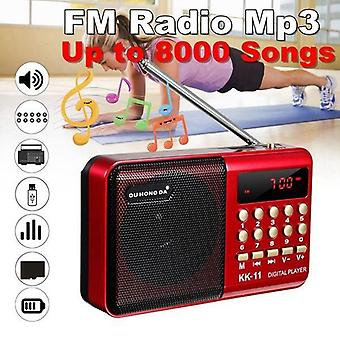 K11 Fm Rechargeable Mini Portable Radio Handheld Digital Usb Tf Mp3 Player  (with Battery)