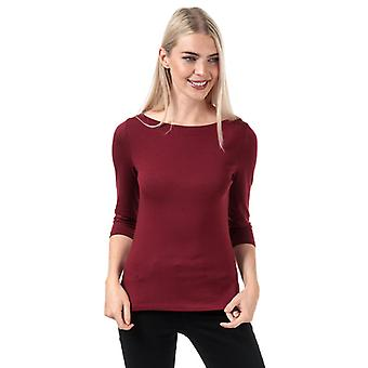 Frauen's Vero Moda Panda 3 Viertel Sleeve Top in rot